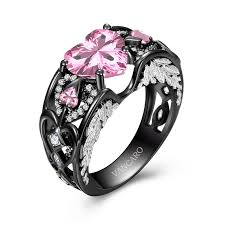 Pink Wedding Rings by Vancaro Black Ring Black Engagement Ring Black Wedding Ring