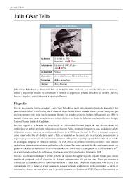 biografia julio c tello resumen julio césar tello