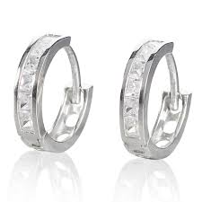 gold hoop earrings uk 9ct white gold cubic zirconia hoop earrings 0000504