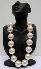 chunky pearl bib necklace images Statement large oversized chunky faux pearl ribbon bib necklace jpg