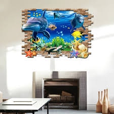 aliexpress com buy 3d fish seabed wall sticker nursery kids room aliexpress com buy 3d fish seabed wall sticker nursery kids room wall decals baby decor underwater world fish ocean wallpaper home decoration from