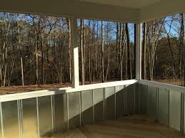 Patio Half Wall Screen Porch With Roofing Tin As The Half Wall House Projects