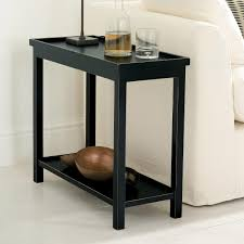 jet rubbed black narrow wooden side table oka