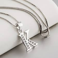 silver necklace with letters images S925 sterling silver cubic zirconia 26 letters alphabet jpg
