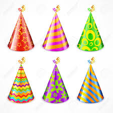 party hats set of colorful party hats with decorations on white vector