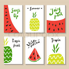 cute doodle with watermelon and pineapple suitable for birthday