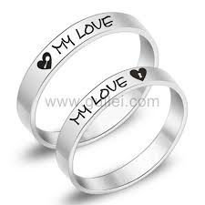 Engraved Necklaces For Couples Engraved Titanium Promise Anniversary Couples Rings Set For 2