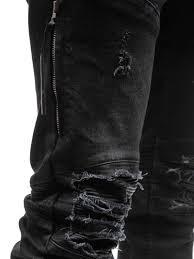 mens casual biker boots ripped jeans men 2017 brand new hi street fashion zipper biker