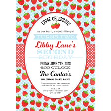strawberry blue birthday party invitation printable dimple