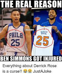 Derrick Rose Injury Meme - the real reason cha onbamemes rose phila ha ben simmons got injured