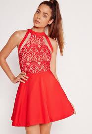 square neck skater dress red missguided