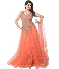 party wear dress kanani women s net dress material a0013 free size orange