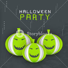 background for halloween banner or background for halloween party with pumpkins on grey