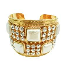 rhinestone cuff bracelet images Chanel vintage wide faux pearl and rhinestone cuff bracelet at 1stdibs jpg