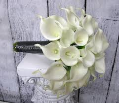 brides bouquet wedding bouquet white calla bridal bouquet real touch