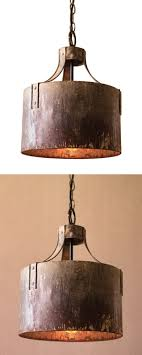 Industrial Lighting Fixtures For Kitchen Kitchen Lighting Rustic Pendant Urn Copper Industrial Wood Brown