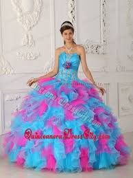 dress for quincea era blue and pink strapless organza appliques ruffled dress for quince