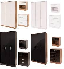 ottawa gloss triple wardrobe bedroom furniture set 4 colours