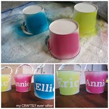 painted easter buckets personalized easter buckets pottery barn knock my craftily