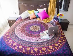 Beach Themed Bed Sheets Amazon Com Folkulture Retro Spectrum Bohemian Hippie Tapestry