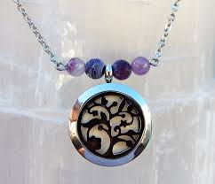 necklace with locket images Amethyst diffuser locket aromatherapy necklace essential oil jpeg