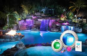 pool spa and backyard lights information in ground pool