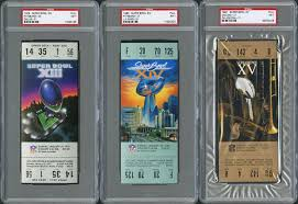 Superbowl Tickets Lot Detail Super Bowl Psa Graded Ticket Collection Of 31 Full