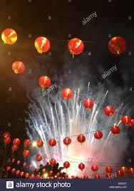 lanterns fireworks new year lanterns fireworks stock photo royalty free