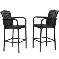Patio Bar Chairs by 2 Pcs Rattan Bar Stool Set High Chairs Outdoor Chairs Outdoor