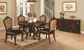 coaster benbrook 6pc round pedestal dining table set in dark