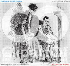 clipart of a black and white retro housewife setting a fireside