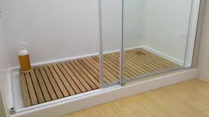 Natural Bathroom Ideas by Bathroom Creative Wooden Bath Mats With Teak Unstained Railing