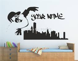 online get cheap personalised wall murals aliexpress com personalised graffiti skyline music singer wall art sticker decal diy home decoration wall mural removable room