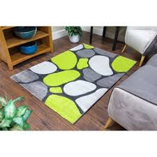 Green Modern Rug Pebbles Grey And Green Modern Rug