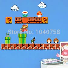 Super Mario Bedroom Decor Removable Super Mario Bros Wall Stickers Pixel Art Grid Cartoon