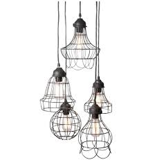 Wire Pendant Light Wire Five Pendant L With Edison Bulbs By Pottery Barn Design