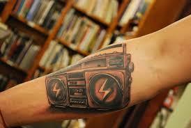 realistic boombox arm tattoo tattoomagz