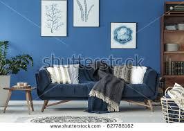 blue livingroom spacious blue living room designed stock photo edit now