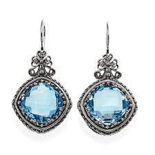 blue drop earrings ottoman 15 6ctw blue topaz sterling silver bow design drop