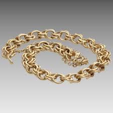gold charm link bracelet images Gold link bracelet 14 karat yellow vintage charm safety chain jpg