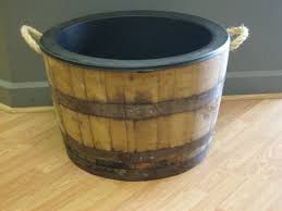 Half Barrel Planters by Half White Oak Whiskey Barrel Planter With Handles Black