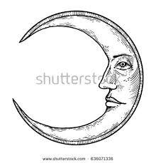 moon face engraving vector illustration scratch stock vector