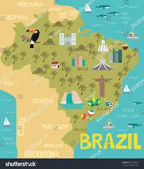map of brazil illustration map brazil nature animals landmarks stock vector