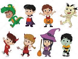 Cute Halloween Vector Happy Halloween Set Of Cute Cartoon Children In Colorful Hallow