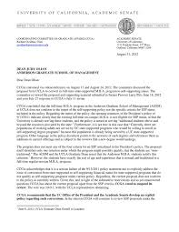 letter rejecting self sufficiency proposal by ucla anderson