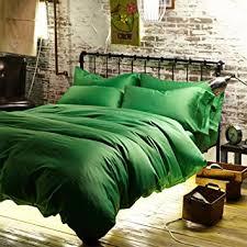 green bed set amazon com newrara luxury linen cotton satin solid color emerald
