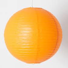 guirlande lumineuse papier japonais suspension boule japonaise en papier diamètre 40cm orange avec câble