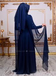Navy Blue An by Blue Fully Lined Crew Neck Muslim Evening Dress An Nahar