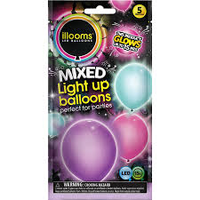illooms light up balloons pink turquoise and purple 5 ct