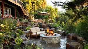 alderwood landscaping sloped backyard patio garden firepit rend